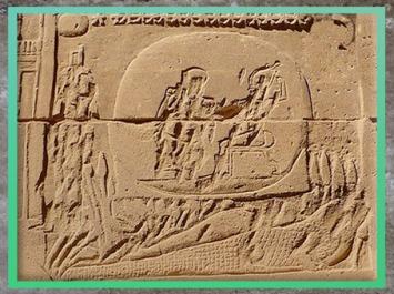 D'après Isis, Horus, la momie d'Osiris sur le crocodile des marais, Abaton de Biggeh, relief, Porte d'Hadrien, temple d'Isis, Philae, île d'Aguilkia, Assouan, Égypte Ancienne. (Marsailly/Blogostelle)
