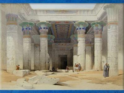 D'après le portique du temple de la déesse Isis, Philae, aquarelle de David Roberts, XIXe siècle, Égypte Ancienne. (Marsailly/Blogostelle)