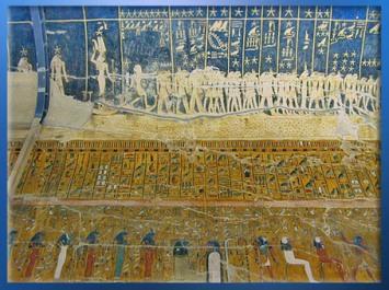 D'après le déesse Sothis-Sopdet-Isis, les étoiles et les constellations, plafond de la tombe de Sethi 1er, vers 1300 avjc, Thèbes, Vallée des Rois, XIXe dynastie, Nouvel Empire, Égypte Ancienne. (Marsailly/Blogostelle)