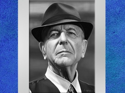 Léonard Cohen, dessin de Fredlobo Lopez. © Fredlobo Lopez-courtesy de l'artiste pour Blogostelle.