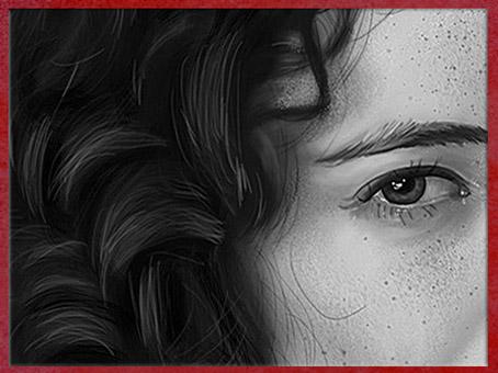 Dessin de Fredlobo Lopez, Eva Green, détail. © Fredlobo Lopez-courtesy de l'artiste pour Blogostelle.
