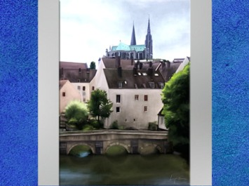 Dessin de Fredlobo Lopez, La cathédrale de Chartres. © Fredlobo Lopez-courtesy de l'artiste pour Blogostelle.