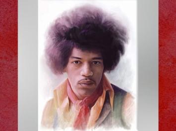 Dessin de Fredlobo Lopez, Jimi Hendrix. ©Fredlobo Lopez-courtesy de l'artiste pour Blogostelle.