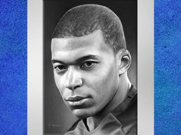 Dessin de Fredlobo Lopez, Kylian Mbappé. ©Fredlobo Lopez-courtesy de l'artiste pour Blogostelle.