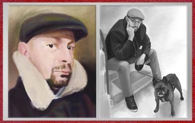 Dessins de Fredlobo Lopez, autoportraits, couleur et noir et blanc. © Fredlobo Lopez-courtesy de l'artiste pour Blogostelle.