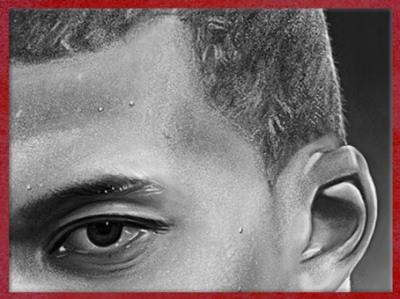 Dessin de Fredlobo Lopez, Kylian Mbappé, détail. ©Fredlobo Lopez-courtesy de l'artiste pour Blogostelle.