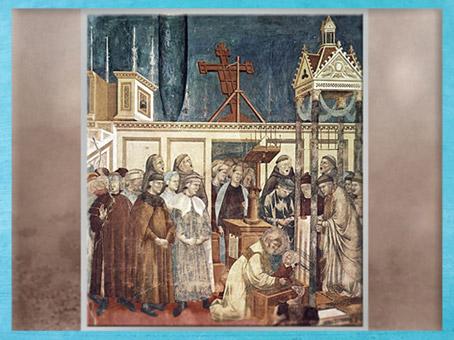 D'après François d'Assise et la crèche de Noël de Greccio, Giotto, 1295 apjc, église supérieure, Assise, fin période médiévale. (Marsailly/Blogostelle)