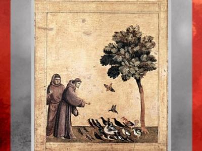 D'après Saint François parlant aux oiseaux, prédelle des stigmates, Giotto di Bondone, 1295-1300 apjc, XIIIe siècle, période médiévale. (Marsailly/Blogostelle)