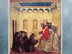 D'après Le Pape approuvant les règles de l'ordre, prédelle de saint François aux stigmates, de Giotto Di Bondone, vers 1295 - 1300 apjc, période médiévale. (Marsailly/Blogostelle)