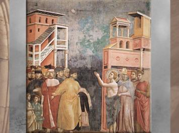 D'après le départ de François, qui quitte les siens pour vivre en ermite, Giotto Di Bondone, 1295 apjc, église supérieure de San Francesco d'Assise, Ombrie, XIIIe siècle, période médiévale. (Marsailly/Blogostelle)