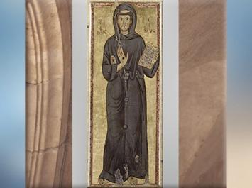 D'après François d'Assise revêtu de sa robe de bure à 3 nœuds, peinture sur bois, fond d'or, vers 1225-1250 apjc, XIIIe siècle, période médiévale. (Marsailly/Blogostelle)