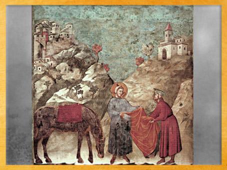 D'après François d'Assise donnant sa tunique à un pauvre, Giotto Di Bondone, 1295 apjc, église supérieure de San Francesco d'Assise, Ombrie, XIIIe siècle, période médiévale. (Marsailly/Blogostelle)