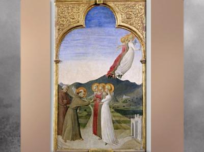 D'après Le Mariage mystique de François d'Assise, de Sassetta, huile sur bois, 1392 apjc, élément de retable, Borgo San Sepolcro Toscane, XIVe siècle, période médiévale. (Marsailly/Blogostelle)