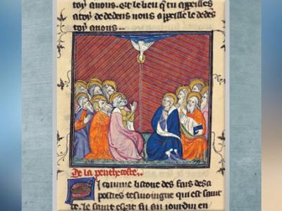 D'après La Légende Dorée, Jacques de Voragine, La Pentecôte, les apôtres partent prêcher, enluminure, fin XIVe siècle, France. (Marsailly/Blogostelle)