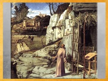D'après François d'Assise, en extase dans le désert, de Giovanni Bellini, 1480 apjc, XVe siècle, Venise, Renaissance italienne. (Marsailly/Blogostelle)