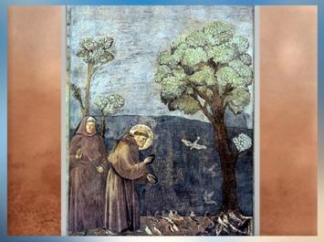 D'après Saint François d'Assise s'adressant aux oiseaux, Giotto Di Bondone, 1295 apjc, église supérieure de San Francesco d'Assise, Ombrie, XIIIe siècle, période médiévale. (Marsailly/Blogostelle)