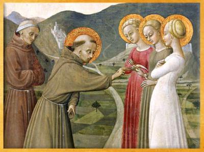 D'après Le Mariage mystique de François d'Assise, de Sassetta, 1392 apjc, détail, Borgo San Sepolcro, Toscane, période médiévale. (Marsailly/Blogostelle)