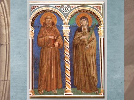 D'après saint François et sainte Claire, Giotto Di Bondone, vers 1279-1300 apjc, fresque, église supérieure de San Francesco d'Assise, Ombrie, période médiévale. (Marsailly/Blogostelle)