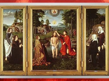 D'après Le Baptême du Christ, ou triptyque de Jan des Trompes, de Gérard David, huile sur bois, retable vers 1502 - 1508 apjc, école flamande, début XVIe siècle, Renaissance. (Marsailly/Blogostelle)