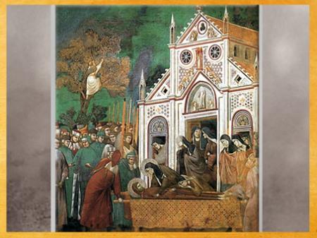 D'après sainte Claire pleurant saint François, Giotto Di Bondone, vers 1279-1300 apjc, fresque, église supérieure de San Francesco d'Assise, Ombrie, XIIIe siècle, période médiévale. (Marsailly/Blogostelle)