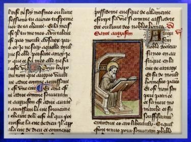 D'après La Légende Dorée, Jacques de Voragine, saint Augustin, traduction Jean de Vignay, 1404 apjc, textes et miniatures enluminés, France, Renaissance. (Marsailly/Blogostelle)