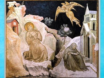 D'après François d'Assise recevant les stigmates, fresque, Pietro Lorenzetti, 1310-1319 apjc, XIVe siècle, église inférieure de San Francesco d'Assise, Ombrie, période médiévale. (Marsailly/Blogostelle)