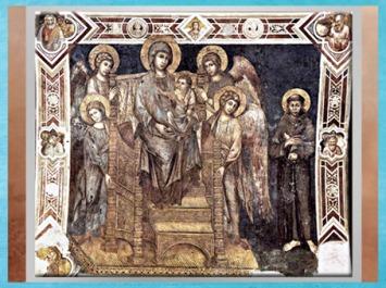 D'après François d'Assise auprès de la Vierge à l'Enfant entourée d'anges, de Cimabue, fresque, 1278 - 1280 apjc, basilique inférieure, Assise, Ombrie, XIIIe siècle, période médiévale. (Marsailly/Blogostelle)