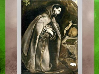 D'après François d'Assise en prière dans une grotte, Le Greco, vers 1595-1605, école espagnole, début de l'art Baroque. (Marsailly/Blogostelle)