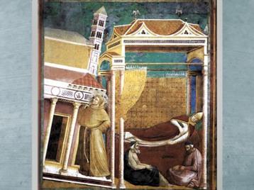 D'après Le songe d'Innocent III, François et l'église du Latran, Giotto Di Bondone, 1295 apjc église supérieure de San Francesco d'Assise, Ombrie, période médiévale. (Marsailly/Blogostelle)