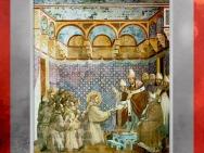 François obtient l'approbation du pape Innocent III pour la règle des Frères mineurs, Giotto vers 1295, église supérieure de San Francesco d'Assise, Ombrie, XIIIe siècle, période médiévale. (Marsailly/Blogostelle)
