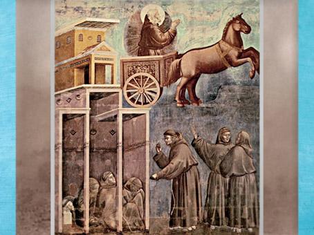 D'après François d'Assise en gloire sur un char de feu, Giotto vers 1295, église supérieure de San Francesco d'Assise, Ombrie, XIIIe siècle, période médiévale. (Marsailly/Blogostelle)
