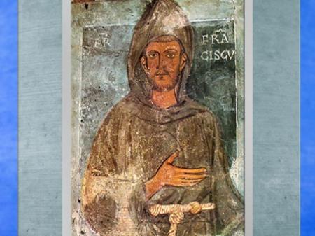 D'après François d'Assise, fresque, chapelle de Saint Grégoire, Sacro Speco (Sainte grotte), 1228- 1228 apjc, abbaye de Subiaco, province de Rome, XIIIe siècle, période médiévale. (Marsailly/Blogostelle)