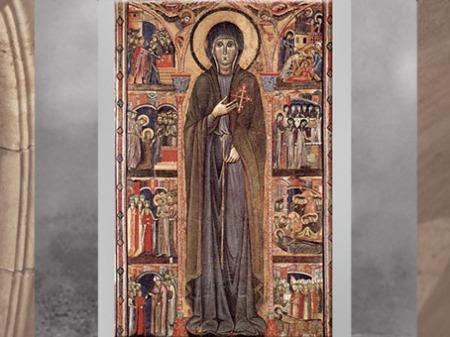 D'après La Vie de sainte Claire, fondatrice des sœurs clarisses, tempera d'un maître italien, vers 1280 apjc, basilique Sainte-Claire, Assise, Ombrie, période médiévale. (Marsailly/Blogostelle)