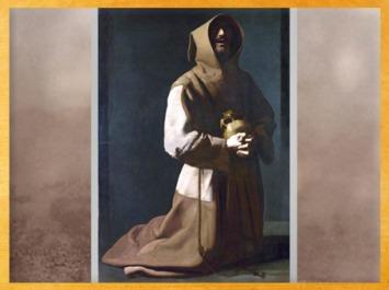 D'après François d'Assise en méditation, vanité de Francisco de Zurbarán, siècle d'or espagnol, XVIIe siècle, période Baroque. (Marsailly/Blogostelle)