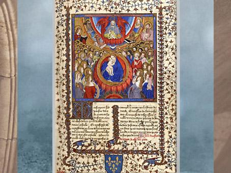 D'après La Légende Dorée, de Jacques de Voragine, traduction Jean de Vignay, Vierge à l'Enfant, enluminure, 1404 apjc, début Renaissance, France. (Marsailly/Blogostelle)
