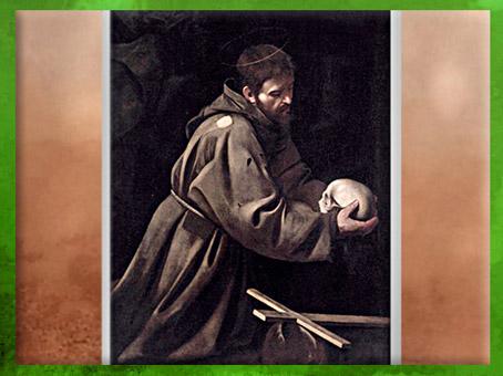 D'après François d'Assise en méditation, Caravage,1603 apjc, Palazzo Barberini, Rome, début XVIIe siècle, période Baroque. (Marsailly/Blogostelle)