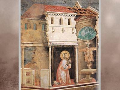 D'après François et le miracle du Crucifix de Saint-Damien, qui lui demande de rebâtir l'église, Giotto Di Bondone, 1295 apjc, église supérieure de San Francesco d'Assise, Ombrie, XIIIe siècle, période médiévale. (Marsailly/Blogostelle)