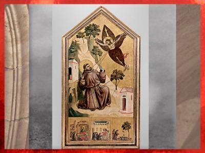 D'après la prédelle de saint François recevant les stigmates, de Giotto Di Bondone, avec Le Songe d'Innocent III, Le Pape approuvant les règles de l'ordre et François prêchant aux oiseaux, vers 1295 - 1300 apjc, période médiévale (Marsailly/Blogostelle)