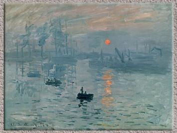 D'après Impression au soleil levant, Claude Monet, vers 1872-1873, huile sur toile, le port du Havre au petit matin, XIXe siècle. (Marsailly/Blogostelle)