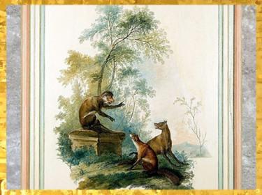D'après un motif de singerie, détail, cabinet des Fables, Le loup, le renard et le singe, hôtel Dangé, vers 1750-1755 apjc, Paris, XVIIIe siècle, style Rocaille, France. (Marsailly/Blogostelle)