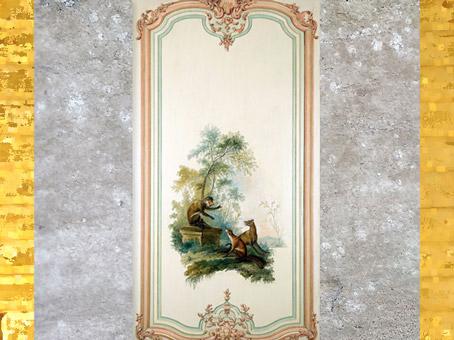 D'après un motif de singerie, cabinet des Fables, Le loup, le renard et le singe, hôtel Dangé, vers 1750-1755 apjc, Paris, XVIIIe siècle, style Rocaille, France. (Marsailly/Blogostelle)