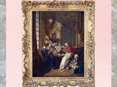 D'après Le déjeuner, détail, de François Boucher, 1739, XVIIIe siècle, France, période Rocaille. (Marsailly/Blogostelle)