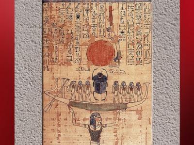 D'après la barque du Soleil Renaissant-Khepri, supportée par le dieu Noun (Océan primordial), dans le Livre pour Sortir au Jour (dit Livre des Morts) d'Anhai, XXe dynastie, Nouvel Empire, Égypte ancienne. (Marsailly/Blogostelle)