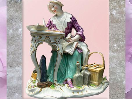 D'après une marchande à ses comptes, porcelaine de Meissen, 1772, Saxe, Allemagne, XVIIIe siècle, période Rocaille. (Marsailly/Blogostelle)
