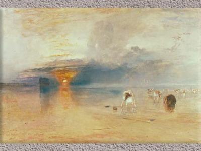 D'après Les sables de Calais à marée basse, de Joseph Mallord William Turner, peintre anglais, 1832, période romantique, XIXe siècle. (Marsailly/Blogostelle)