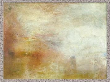 D'après Le soleil couchant sur un lac, de Joseph Mallord William Turner, peintre anglais 1840, période romantique, XIXe siècle. (Marsailly/Blogostelle)