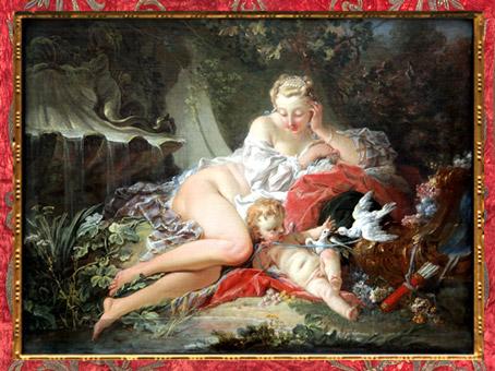 D'après la déesse Vénus et Cupidon, de François Boucher, 1742, XVIIIe siècle, France, période Rocaille. (Marsailly/Blogostelle)