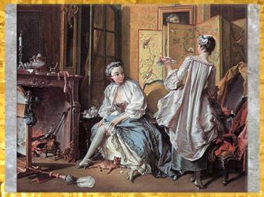 D'après La Toilette, femme nouant sa jarretière, de François Boucher, 1742, XVIIIe siècle, France, période Rocaille. (Marsailly/Blogostelle)