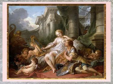 D'après Renaud et Armide, de François Boucher, morceau de réception à l'Académie, 1734, selon la Jérusalem délivrée du Tasse, XVIIIe siècle, France, période Rocaille. (Marsailly/Blogostelle)