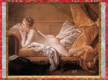 D'après L'Odalisque blonde, Mademoiselle O'Murphy , de François Boucher, 1752, huile sur toile,XVIIIe siècle, France, période Rocaille. (Marsailly/Blogostelle)